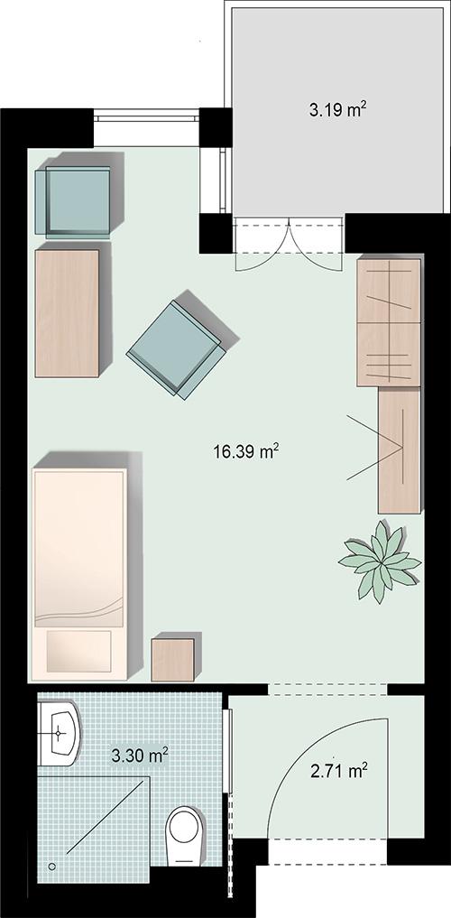Grundriss Einzelzimmer 1 mit Nasszelle und Balkon