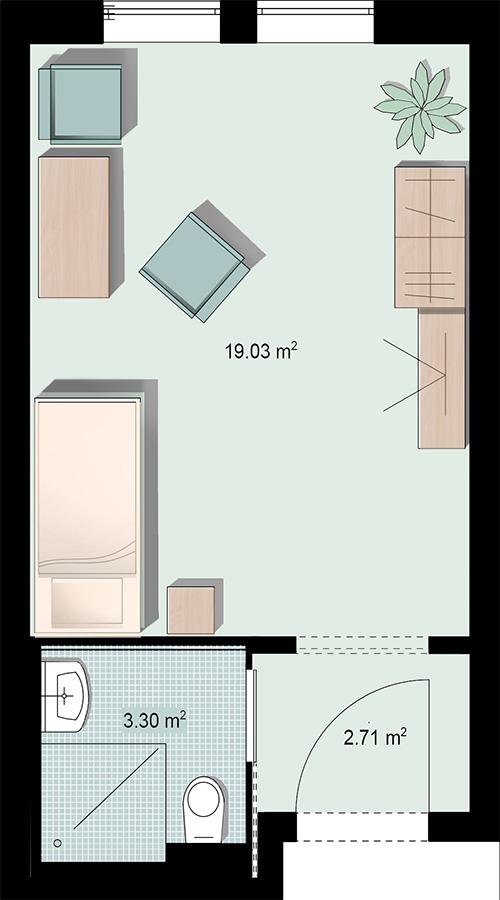 Grundriss Einzelzimmer 2 mit Nasszelle