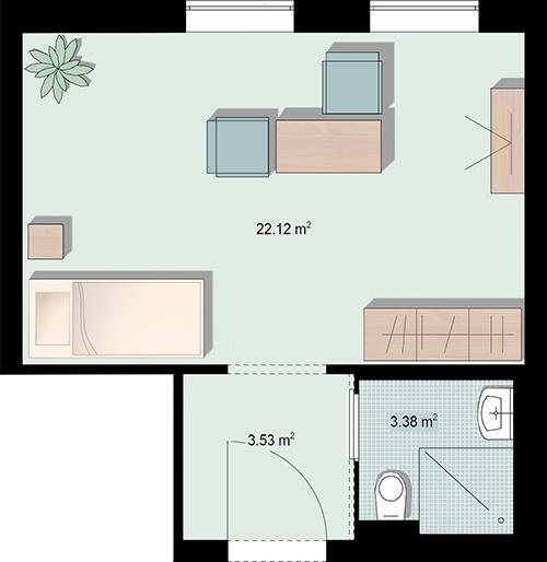 Grundriss Doppelzimmer mit Nasszelle